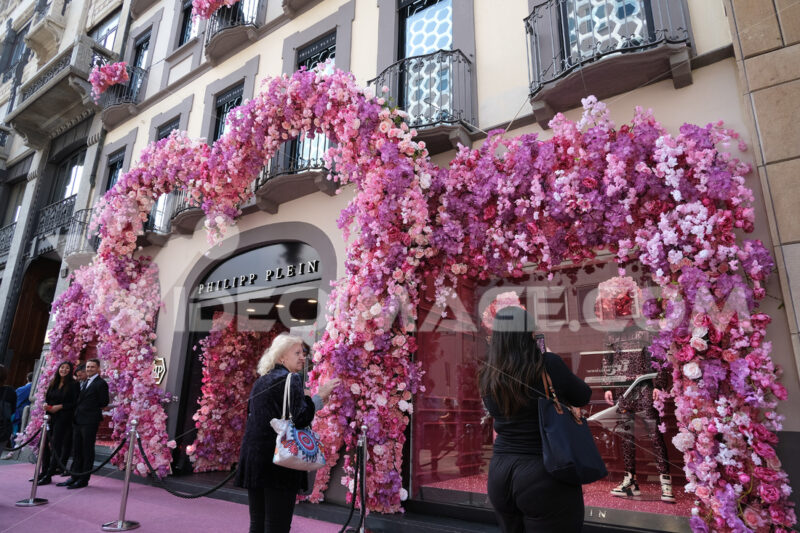 Facade of the shop with a large bush of rose-colored artificial - MyVideoimage.com