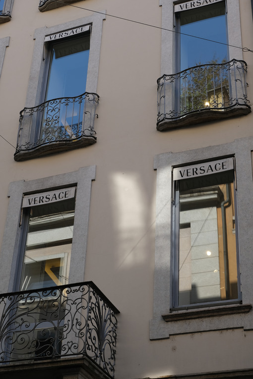 Facade with windows of the building of the Italian fashion house - MyVideoimage.com