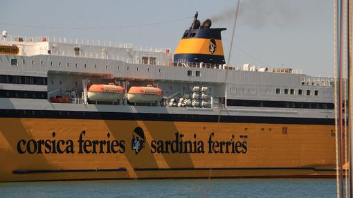 Ferry boat anchored in the port of Livorno. - MyVideoimage.com