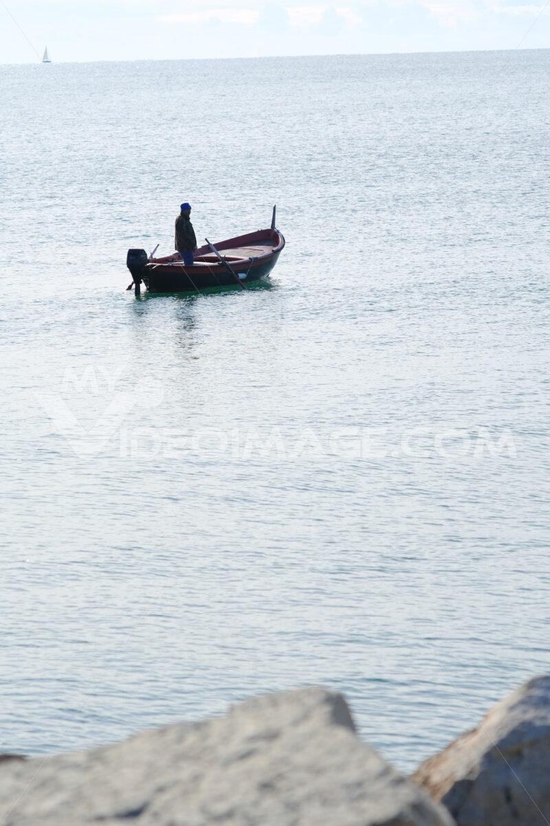 Fisherman's boat in the Ligurian sea, Gulf of La Spezia - MyVideoimage.com