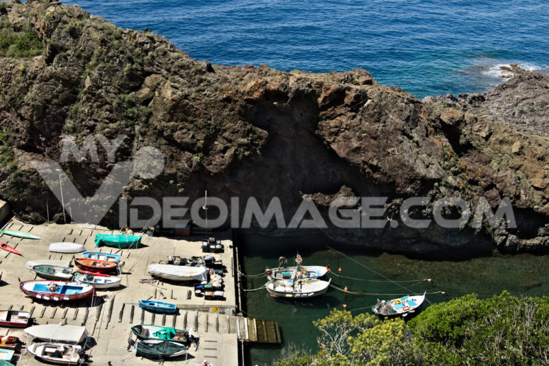 Fishing boats in the harbor. View from above. In the village of - LEphotoart.com
