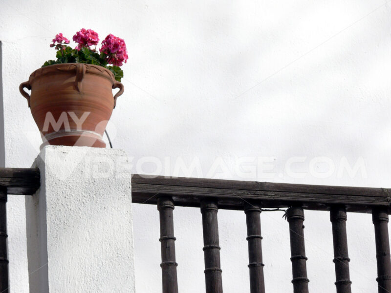 Flower pot and wooden parapet - MyVideoimage.com