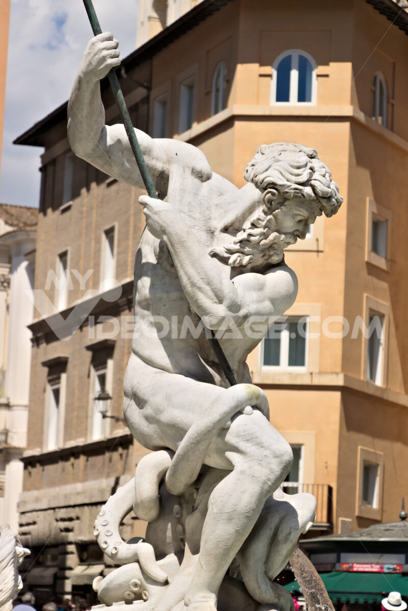 Fountain of Neptune in Piazza Navona, Rome. - MyVideoimage.com