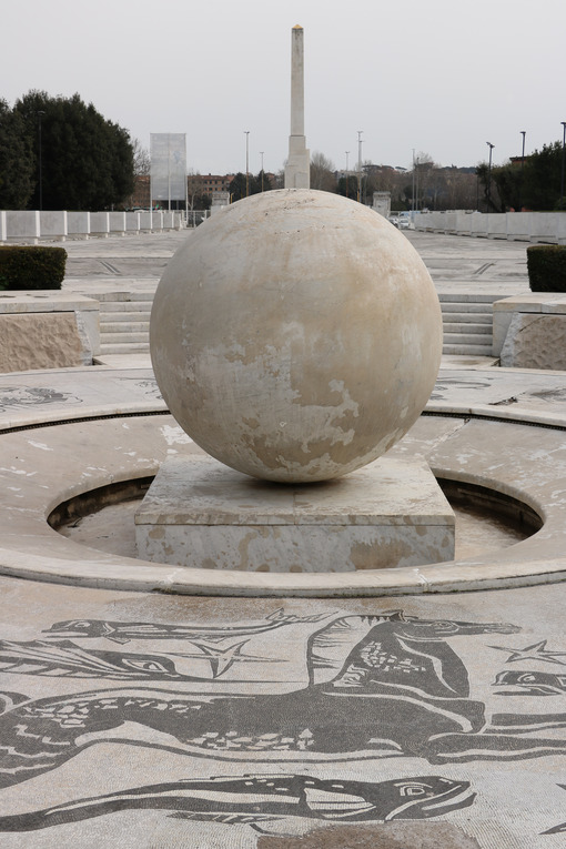 Fountain with sphere in white Carrara marble at the Olympic stadium in Rome. - MyVideoimage.com