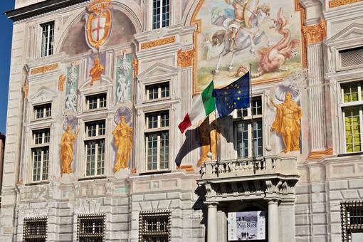 Genoa, Italy. 04/05/2019. Palace of San Giorgio - MyVideoimage.com | Foto stock & Video footage