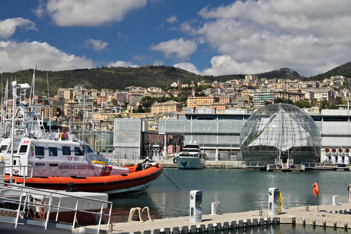 Genoa. Ancient port and aquarium. - MyVideoimage.com | Foto stock & Video footage