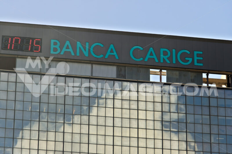 Genoa. Banca Carige advertising sign. Genoa Brignole. - MyVideoimage.com | Foto stock & Video footage
