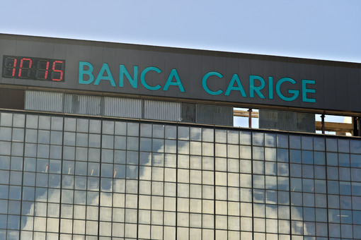 Genoa. Banca Carige advertising sign. Genoa Brignole. - MyVideoimage.com