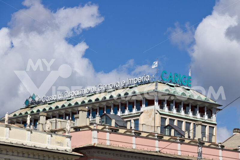 Genoa. Banca Carige advertising sign. Piazza De Ferrari. - MyVideoimage.com | Foto stock & Video footage