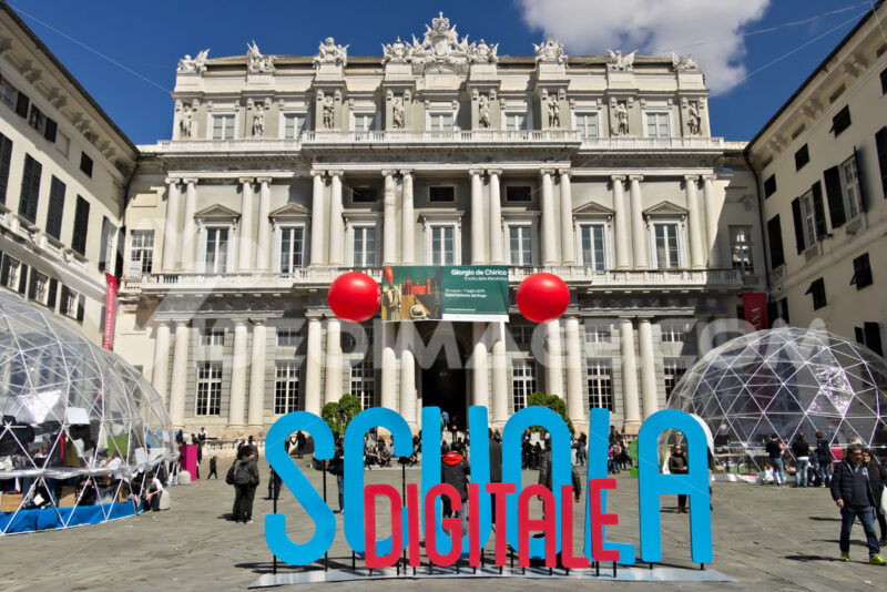 Genoa. Palazzo Ducale with Digital School event - MyVideoimage.com | Foto stock & Video footage