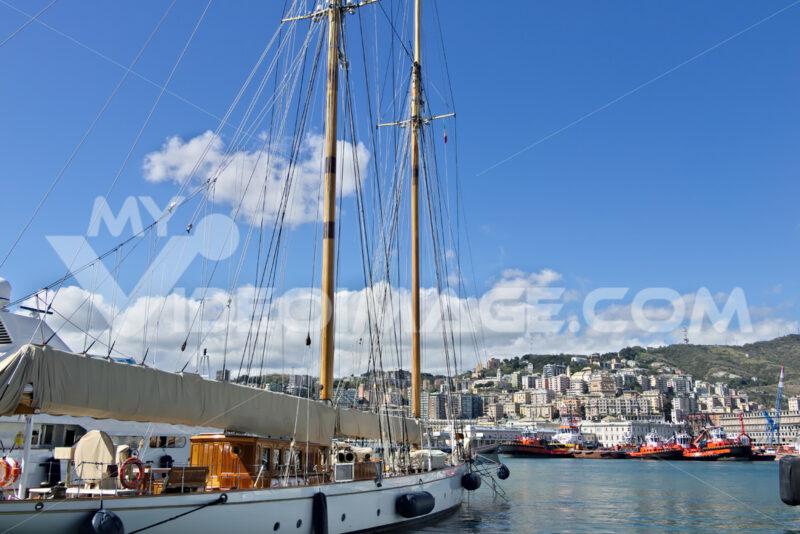 Genoa. sailboat moored in port - MyVideoimage.com   Foto stock & Video footage