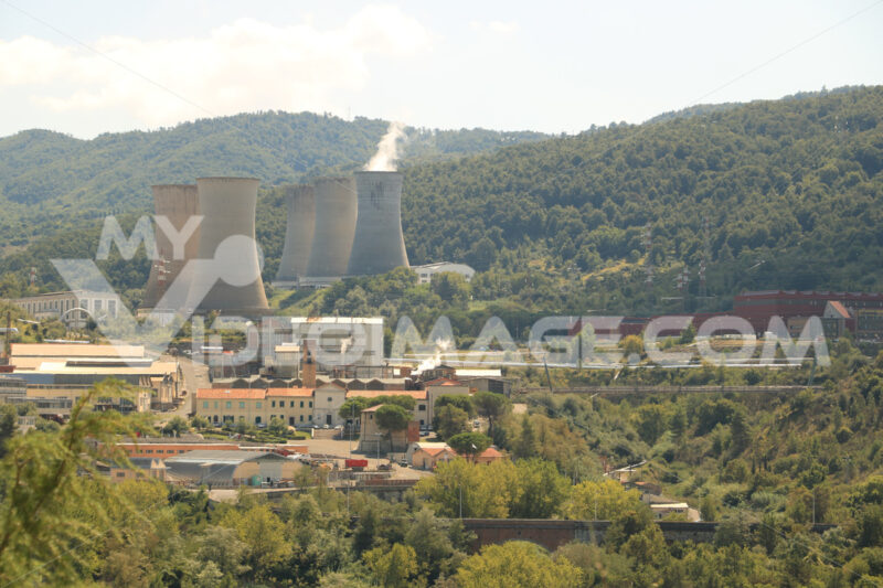 Geothermal power plant for electricity production. Condensation - MyVideoimage.com