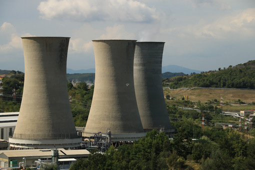 Geothermal power plant for electricity production. Condensation towers in reinforced concrete. Larderello, Tuscany, - MyVideoimage.com