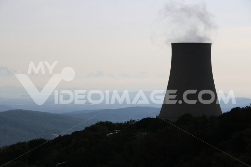 Geothermal power plant for electricity production. Condensation towers in reinforced concrete. Monterotondo near Larderello, Tuscany, - MyVideoimage.com