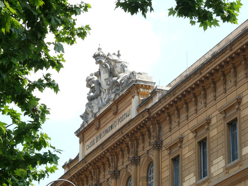 Head office of Cassa Depositi e Prestiti or Post Savings Banks. Facade of the palace of Rome. - MyVideoimage.com