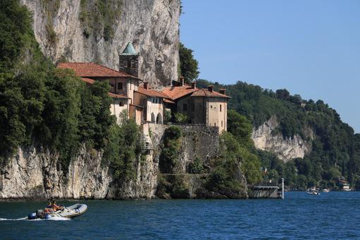 Hermitage of Santa Caterina del Sasso overlooking Lake Maggiore. - MyVideoimage.com