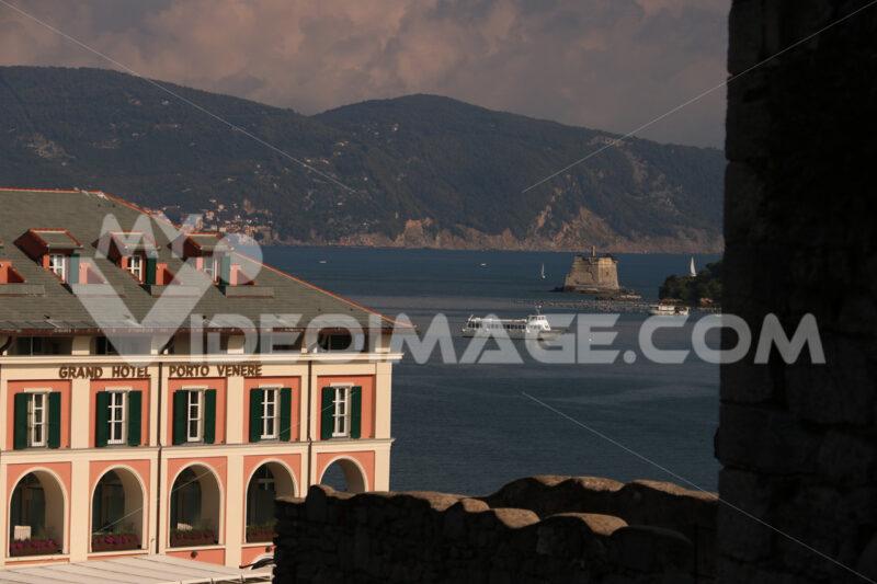 Hotel in Portovenere with the background of the sea of the Gulf of La Spezia, near the Cinque Terre. - MyVideoimage.com