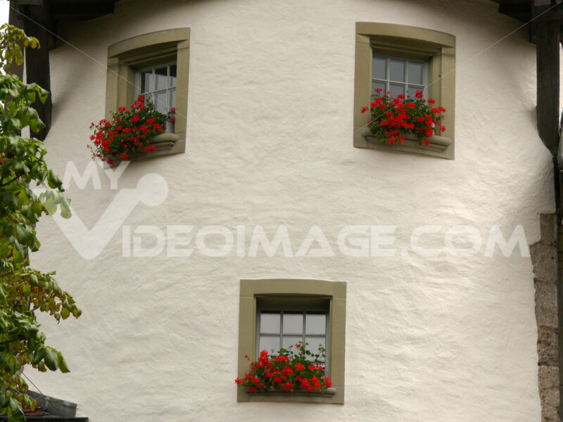 House with circular faade and windows. - MyVideoimage.com