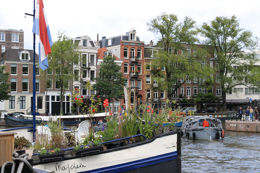 Houseboats and boats in an Amsterdam canal. Boats. Amsterdam foto. Amsterdam photo