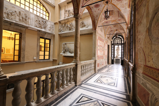 Inside of the Carrara Academy of Fine Arts. Marble floors, sculptures, reliefs and stained glass windows. Toscana - LEphotoart.com