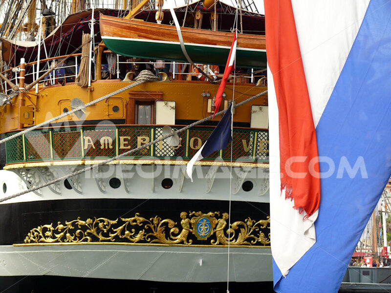 Italian sailing ship. School ship of italian Navy Amerigo Vespucci - MyVideoimage.com | Foto stock & Video footage