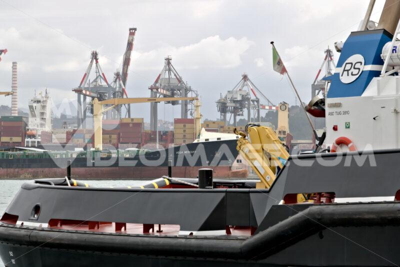 La Spezia, Liguria, Italy. 03/17/2019. Merchant port of La Spezia in Liguria. In the foreground a Coast Guard boat - MyVideoimage.com