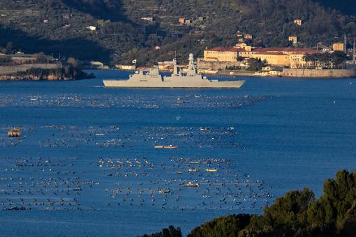 La Spezia, Liguria, Italy. 03/27/2019. Italian military ship D554, Caio Duilio. Foto navi. Ships photo.