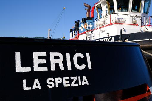 Lerici tugboat anchored at the port of La Spezia. - MyVideoimage.com
