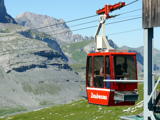 Leukerbad, Switzerland. 08/06/2009. Daubensee cable car - MyVideoimage.com