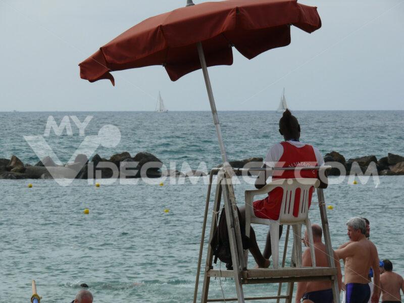 Lifeguard station at sea on the beach of Lerici. - MyVideoimage.com