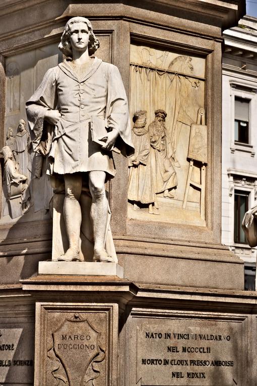 Marco D'Oggiono assistant to Leonardo. Statue in Piazza della Scala in Milan - MyVideoimage.com
