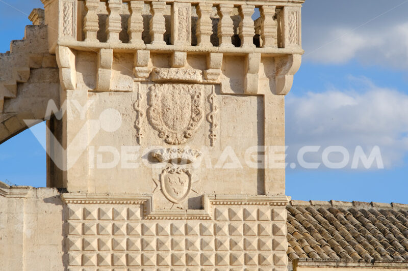 Materdomini Church in Piazza Vittorio Veneto of Matera. Built flat bell tower with balustrade in beige tuff. - MyVideoimage.com