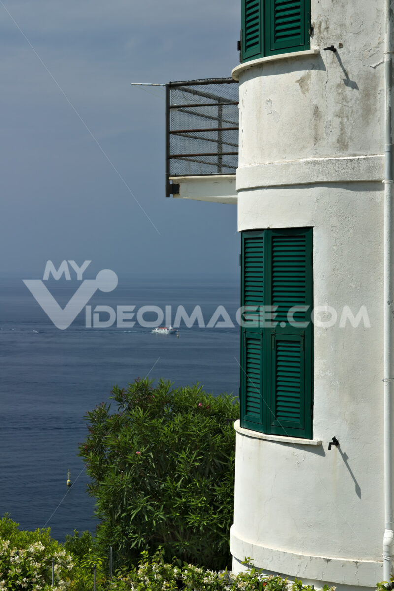 Mediterranean house in Riomaggiore. Five lands. A modern-looking house in a village in the Cinque Terre. (Province of La Spezia) - MyVideimage.com