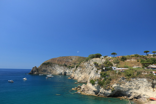 Mediterranean sea with yacht and cliff. Natural panorama of the - MyVideoimage.com