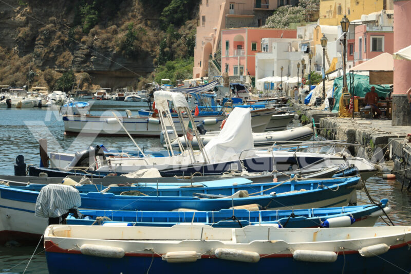 Mediterranean style houses. Boats anchored in the port of Corricella on the Island of Procid - MyVideoimage.com | Foto stock & Video footage