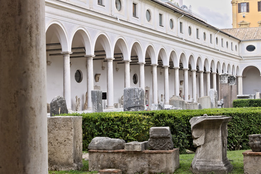 Michelangelo's Cloister at the Baths of Diocletian, Rome. - MyVideoimage.com