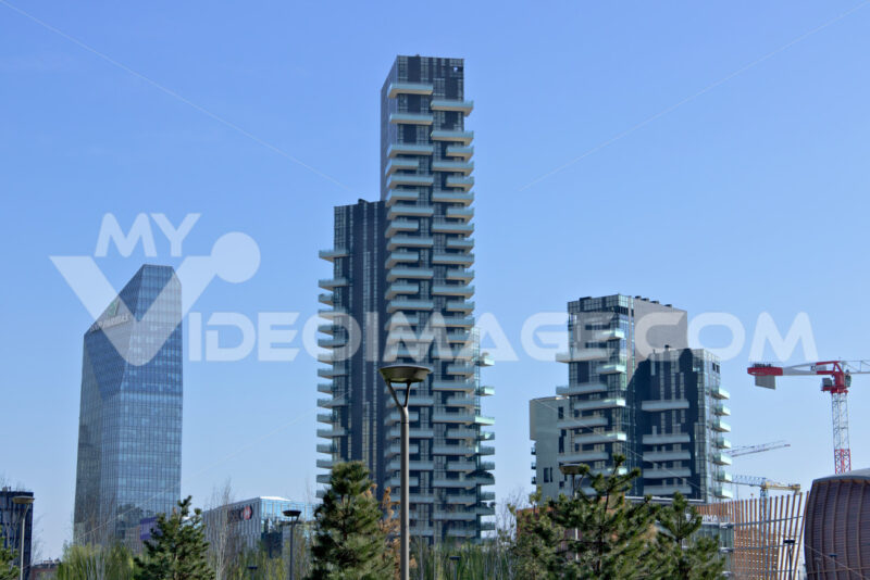 Milan, Italy.  March 21 2019. Residential complex of Torre Solaria, Torre Aria and Torre Solea. - MyVideoimage.com
