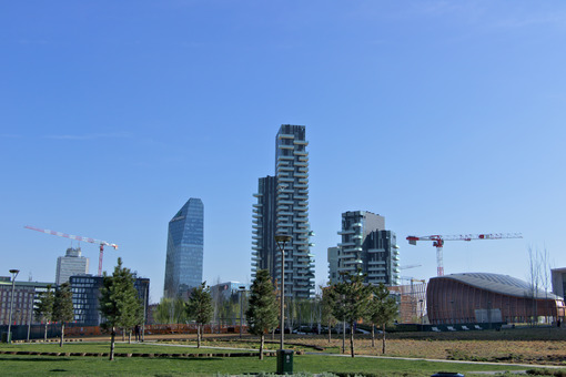 Milan, Italy. March 21 2019. Residential complex of Torre Solaria, Torre Aria and Torre Solea. Città italiane. Italian cities.