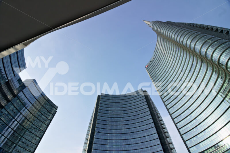 Milan, Italy. March 21 2019. The real estate complex with the Unicredit skyscraper in Piazza Gae Aulenti. Società - LEphotoart.com