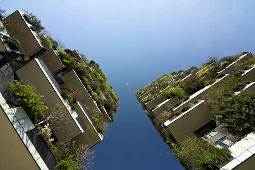 "Milan March 21 2019. ""Bosco Verticale"" skyscrapers built in Milan between the Isola district and Porta Garibaldi. - MyVideoimage.com"