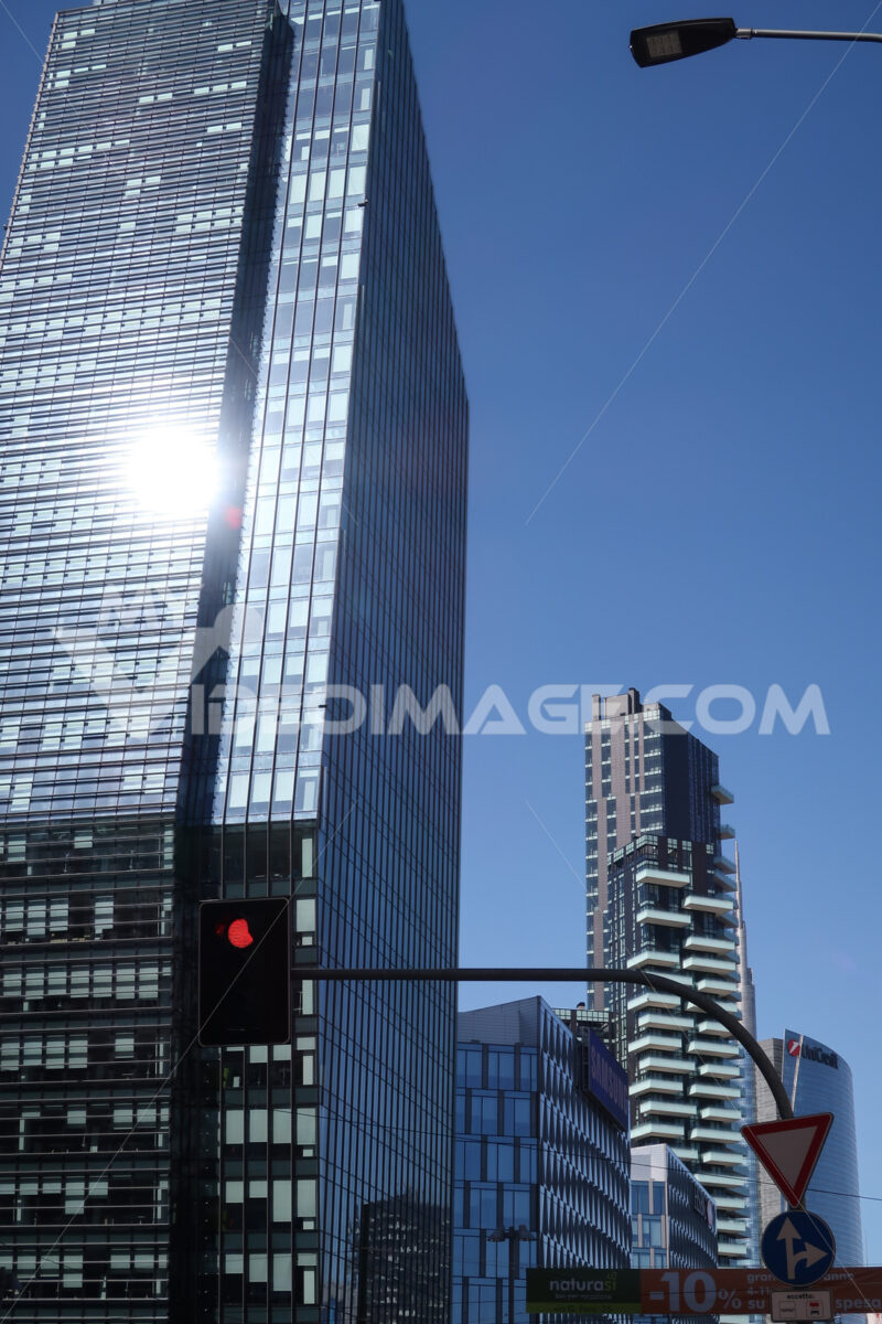 Milan skyscrapers in the Porta Nuova area, Porta Garibaldi. BNL BNP Paribas building, diamond tower. Società. - LEphotoart.com