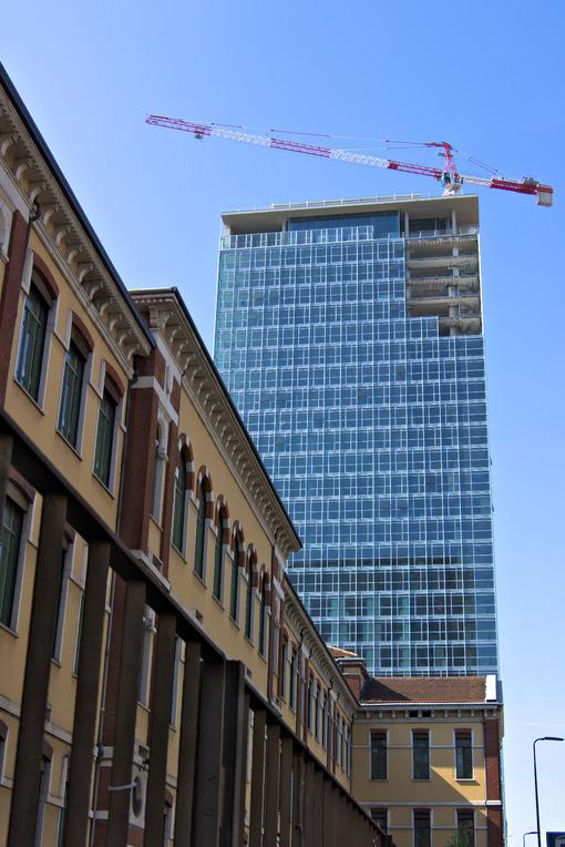 Milan. Italy, March 21 2019. Renovation of the facade of a building - MyVideoimage.com
