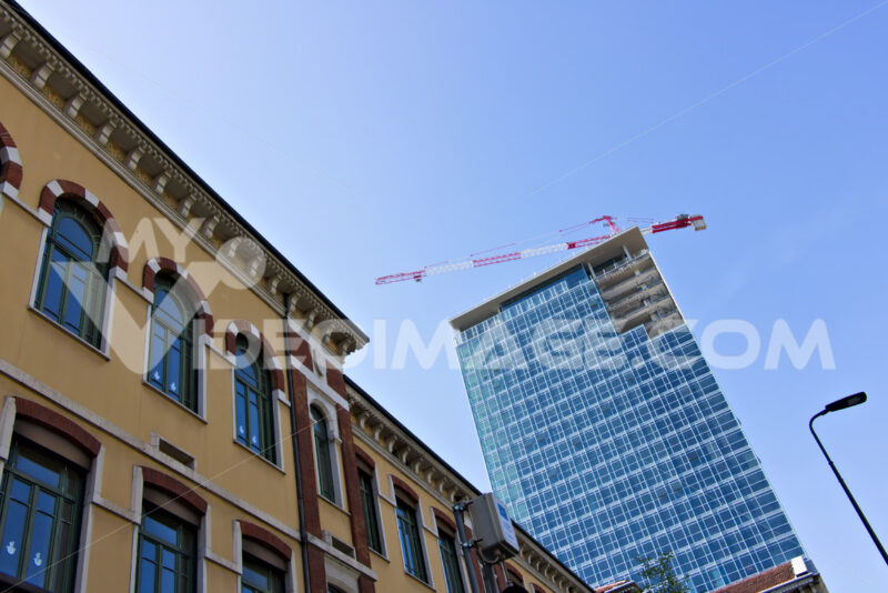 Milan. Italy, March 21 2019. Renovation of the facade of a building - MyVideoimage.com