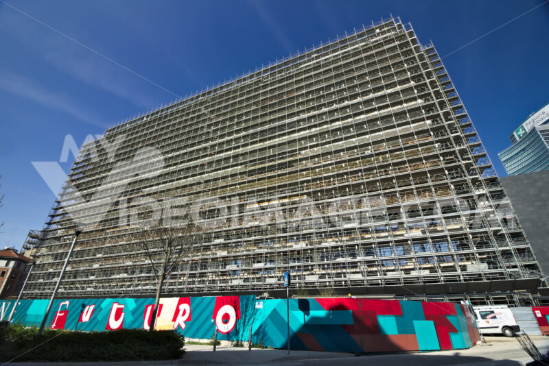 Milan. Italy. March 21 2019. Construction site for the construction of a modern building. Città italiane. Italian cities.