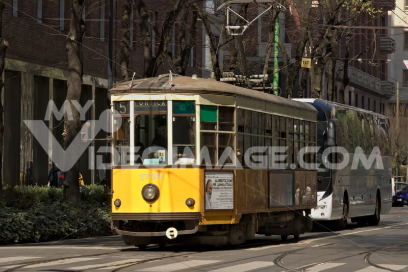 Milan. March 21 2019. An ancient tram in the center of Milan - MyVideoimage.com