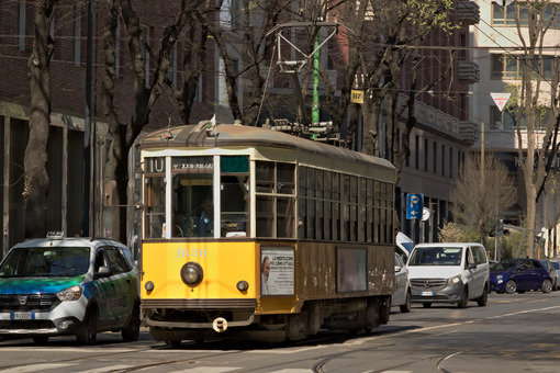 Milan. March 21 2019. An ancient tram in the center of Milan - LEphotoart.com