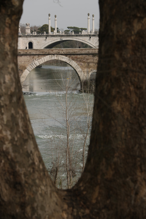 Milvio bridge. Ancient Roman bridge over the Tiber river in Rome. - MyVideoimage.com