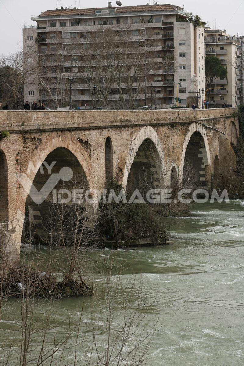 Milvio bridge. Ancient Roman bridge over the Tiber river in Rome. - MyVideoimage.com