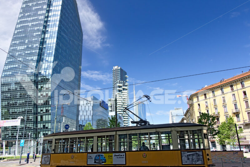 Modern buildings, skyscrapers, roads and traffic in Milano. Towe - MyVideoimage.com