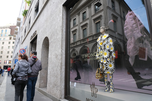 Moncler boutique  with shop windows on Via Montenapoleone in Mil - MyVideoimage.com